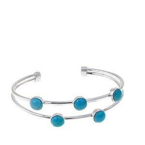 5 stone turquoise silver bracelet. New in package